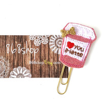 Love you a latte Pink glitter Coffee Planner Clip| Paper clips| Planner Accessory| Journal Marker| Bookmark| Teachers| Friends| Gifts
