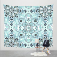 Soft Mint & Teal Detailed Lace Doodle Pattern Wall Tapestry by Micklyn