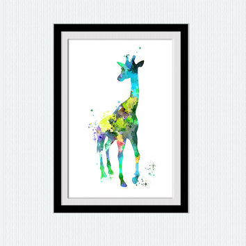 Giraffe poster Giraffe watercolor print Animal colorful print African animal poster Home decoration Kids room wall art Nursery decor W577