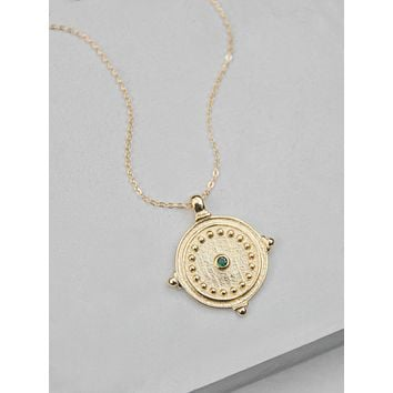 Antique Coin Necklace - Gold + Emerald