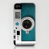 classic retro Blue teal silver Leica M9 Leather camera iPhone 4 4s 5 5c, ipod, ipad case Art Print by Three Second