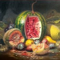 "ITALIAN PAINTING ""FRUITS COMPOSITION"" OLD VINTAGE PAINTING PAINTER MARIO UGHI"