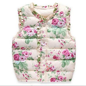 Autumn Spring Children's Jackets Sweet Floral Down Cotton Warm Girls Vest Kids Waistcoat Baby Girl Clothes