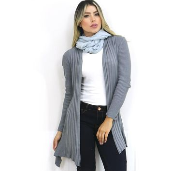 Grey Ribbed Knit Flyaway Cardigan