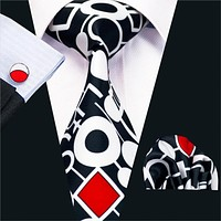 New Arrival Fashion Print Ties For Men High Quality Design Necktie Handkerchief Cuff links Set For Wedding Party