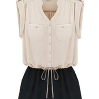 Contrast Sleeveless Rompers