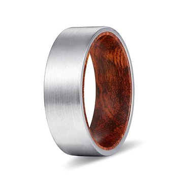 KAVON Flat Men's Tungsten Carbide Ring w/ Snake Wood Sleeve - 8MM