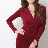 Long Sleeve Ruched Faux Wrap Dress
