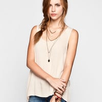 H.I.P. Lace Back Womens Hi Low Tank Natural  In Sizes