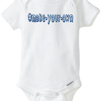 """Blue Boy HASHTAG Onesuit - Funny Baby Gift: - """"# Random Puker"""" Babyshower gift in preemie size - 24m Pink Baby Clothes - Customize Your Own!"""