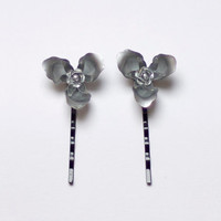 Silver Hair Pins with flower shape