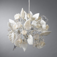 Ceiling chandelier. clear and white flowers and leaves.