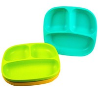 Re-Play Divided Plates, Aqua, Green, Sunny Yellow, 3-Count