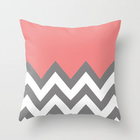 CORAL COLORBLOCK CHEVRON Throw Pillow by natalie sales