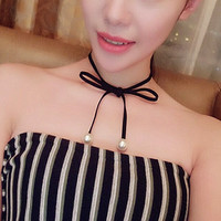 Trendy 2016 New Velvet Choker Imitation Pearl Necklaces For Women Female Gothic Collar Lace Pearls Charm Pendants & Necklaces