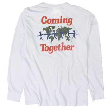 Coming Together Lets Talk L/S white front and back printed graphic tee
