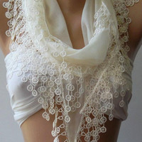 BUY 3 GET 1 FREE - You can choose your free scarf from gift section /Ivory Beige  / Cotton shawl /Elegance Shawl / Scarf with Lace Edge.