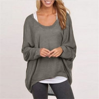 Batwing Long Sleeve Casual Loose Top