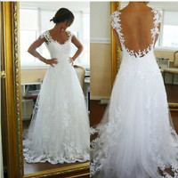 New Sexy Applique Tulle Wedding Dresses Cap Sleeve Lace Bridal Ball Gown*Custom