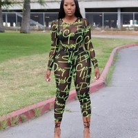 Women Sexy Two Piece Long Sleeve Black Sheer Mesh Neon Letter Print Bodysuit Pant Set