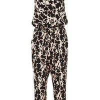 Printed V-Neck Satin Jumpsuit