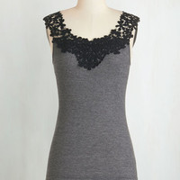 Mid-length Sleeveless Dessert is Served Top in Charcoal by ModCloth