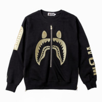 Bape Aape High quality Autumn and winter new fashion embroidery shark letter women and men leisure loose zipper long sleeve sweater top Black