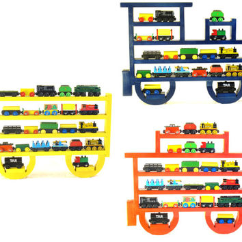 Painted (You choose color) Engine, Tender and Caboose Wooden Wall Storage Train Rack Organizer for Thomas Tank Engine and Brio Tracks