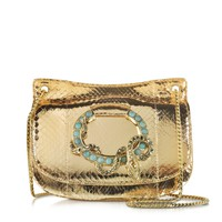 Roberto Cavalli Flap Mekong Metallic Ayers Leather Shoulder Bag w/Turquoise and Crystal Detail