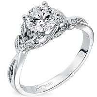 """Artcarved """"Corinne"""" Diamond Engagement Ring Featuring Floral Carving Details"""