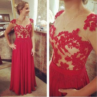 A-Line Lace Prom Dresses,Red Prom Dresses,Long Evening Dress