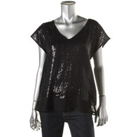 Velvet Womens Sequined V-Neck Pullover Top