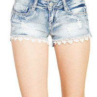 Lace Trim Frayed Cut Off Shorts | Wet Seal