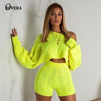 Ohvera Sweater Two Piece Set  Knitted Long Sleeve Crop Tops And Bodycon Shorts Suit Winter Sexy 2 Piece Set Women 2018 Outfits