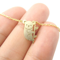 2016 Small Koala Bear and Branch Shaped Necklace Women Animal Charm Cute Pendant Gold Silver Simple Long Necklace N136