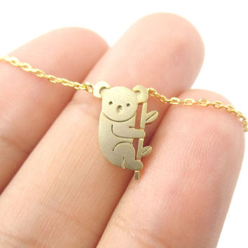 2017 Small Koala Bear and Branch Shaped Necklace Women Animal Charm Cute Pendant Gold Silver Simple Long Necklace N136