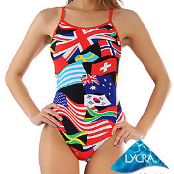 Sporti Flags Thin Strap Swimsuit at SwimOutlet.com
