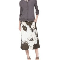 Georgette Knit Cardigan, Zarita Vintage Roses Printed Tea-Length Skirt & Clear Stone Collar Necklace