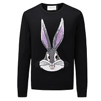 GUCCI new autumn and winter inlaid sequin men's round neck rabbit long ear sweater black