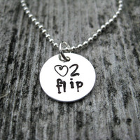 Love Gymnastics Necklace Sterling Silver Hand Stamped