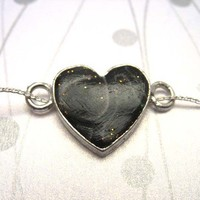Valentine black necklace jewelry , clay fimo silver heart silver chain polymer clay topazturtle etsy handmade jewelry boutique