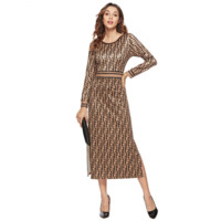Fendi Sexy Popular Women F Letter Print Long Sleeve Round Collar High Waist Knee-Length Dress