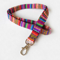 Purple Woven Lanyard / Boho Keychain / Soft Lanyard / Bohemian / Key Lanyard / Colorful / Woven Stripe / ID Badge Holder / Andean Textile