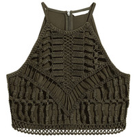 Ribbon-embroidered Top - from H&M