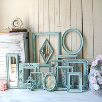 Rustic Mint Green Picture Frames Shabby Chic Sea Glass Green Ornate Frame Gallery French Cottage Green Frames Cottage Chic Painted Frames