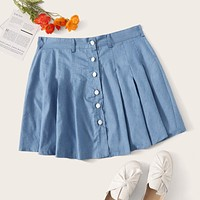 Plus Button Front Denim Pleated Skirt