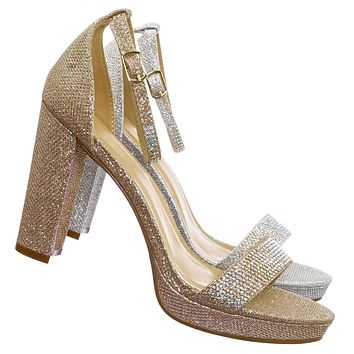 Charvi1 Rhinestone Crystal Chunky Heel Sandals - Womens Open Toe Party Shoes