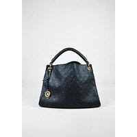 "Louis Vuitton Black Monogram Empreinte Leather ""Artsy MM"" Hobo Bag,leather bag stylish"