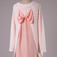 Bow Back Striped Tunic Sweater - Pink