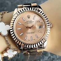 Rolex Classic Popular Women Men Business Movement Wristwatch Rose Golden I13357-1